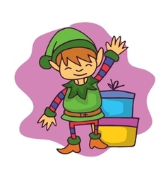 Cartoon elf waving with gift Christmas vector