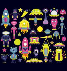 Cartoon set with flat aliens spaceships vector