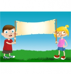children with message board vector image