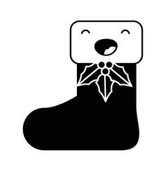 christmas sock kawaii character vector image