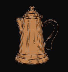 coffee maker in engraving style design element vector image