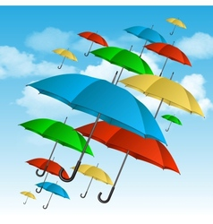 colorful umbrellas flying high vector image