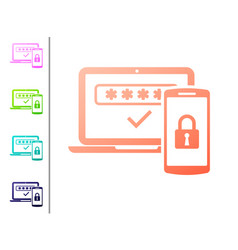 Coral multi factor two steps authentication icon vector