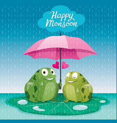 Couple frogs under umbrella together in the rain vector