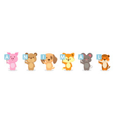 Cute animals character holding board vector