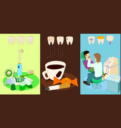 dental horizontal banners set cartoon style vector image