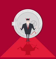 devil businessman standing in front of a safe door vector image