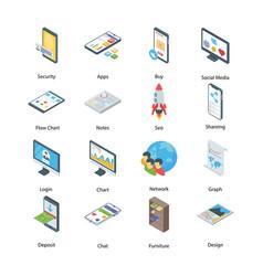 Digital marketing icons pack vector