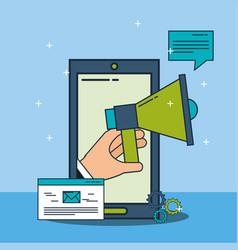 digital marketing phone megaphone email vector image