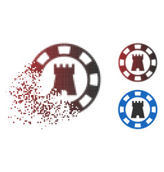 Disappearing pixelated halftone castle casino chip vector