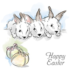 easter card with three rabbits vector image