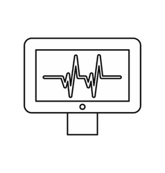 Electrocardiogram monitor icon outline style vector