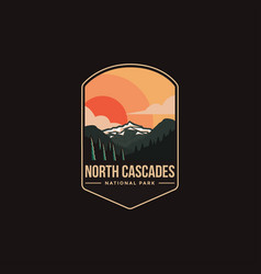 Emblem patch logo north cascades national park vector