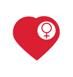female sign icon in the heart woman sex heart vector image