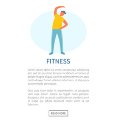 fitness man doing stretching website and text vector image