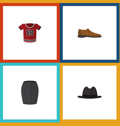 flat icon garment set of panama t-shirt stylish vector image