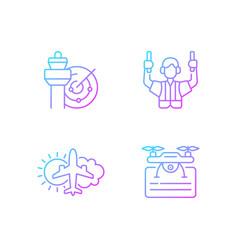 Flight dispatch gradient linear icons set vector