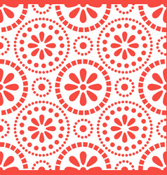 floral red cirles abstract seamless pattern vector image