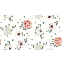 Floral watercolor seamless pattern design vector