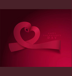 for valentines day heart ribbons vector image