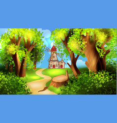 Forest road with windmill on background vector