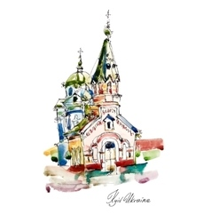 Freehand sketch watercolor painting of church vector