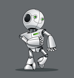 Funny kid robot walking vector