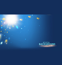 golden confetti falls isolated over blue vector image