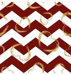 Golden sketch hearts seamless pattern zig zag red vector