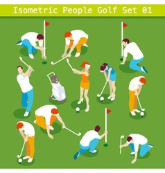 Golf Set 01 People Isometric vector