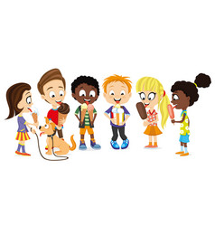 group cheerful kids with ice cream vector image