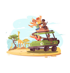 group of tourists on safari vector image vector image