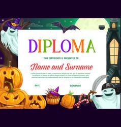 Halloween kids education diploma or certificate vector