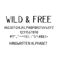 Hand drawn brush alphabet vector