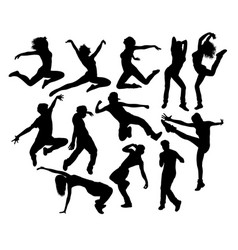happy hip hop dancing activity silhouettes vector image