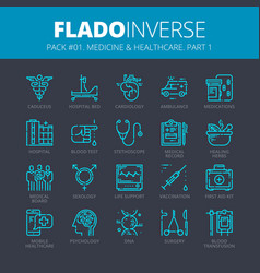 icons set medicine and healthcare vector image