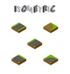 Isometric road set of cracks downward bitumen vector