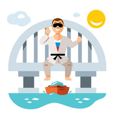 jumper from the bridge flat style colorful vector image