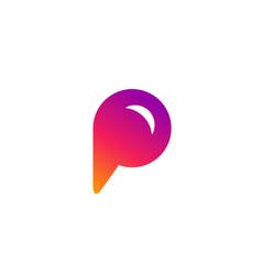 letter p speech bubble logo icon design template vector image