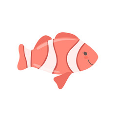 Lovely clown fish cute sea creature character vector