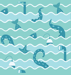 marine life in wave seamless background vector image