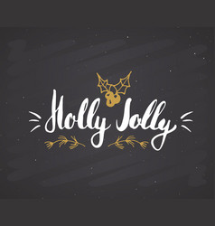 merry christmas calligraphic lettering holly vector image