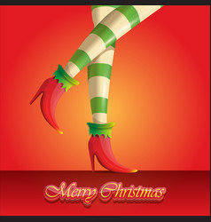 merry christmas greeting card with cartoon vector image