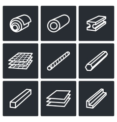 Metallurgy products icons collection vector
