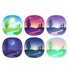 Modern beautiful landscape with gradients sunrise vector