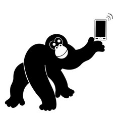 Monkey with smart phone isolated vector