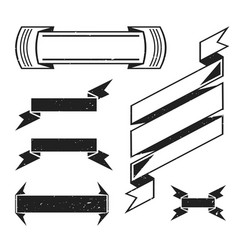 monochrome retro ribbons set vector image