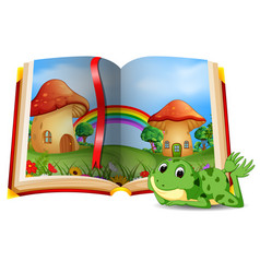 Mushroom house scene in the book and frog vector