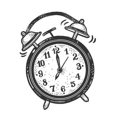 Old fashioned alarm clock ring sketch engraving vector