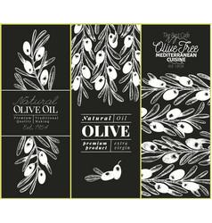olive tree banner set hand drawn vintage vector image